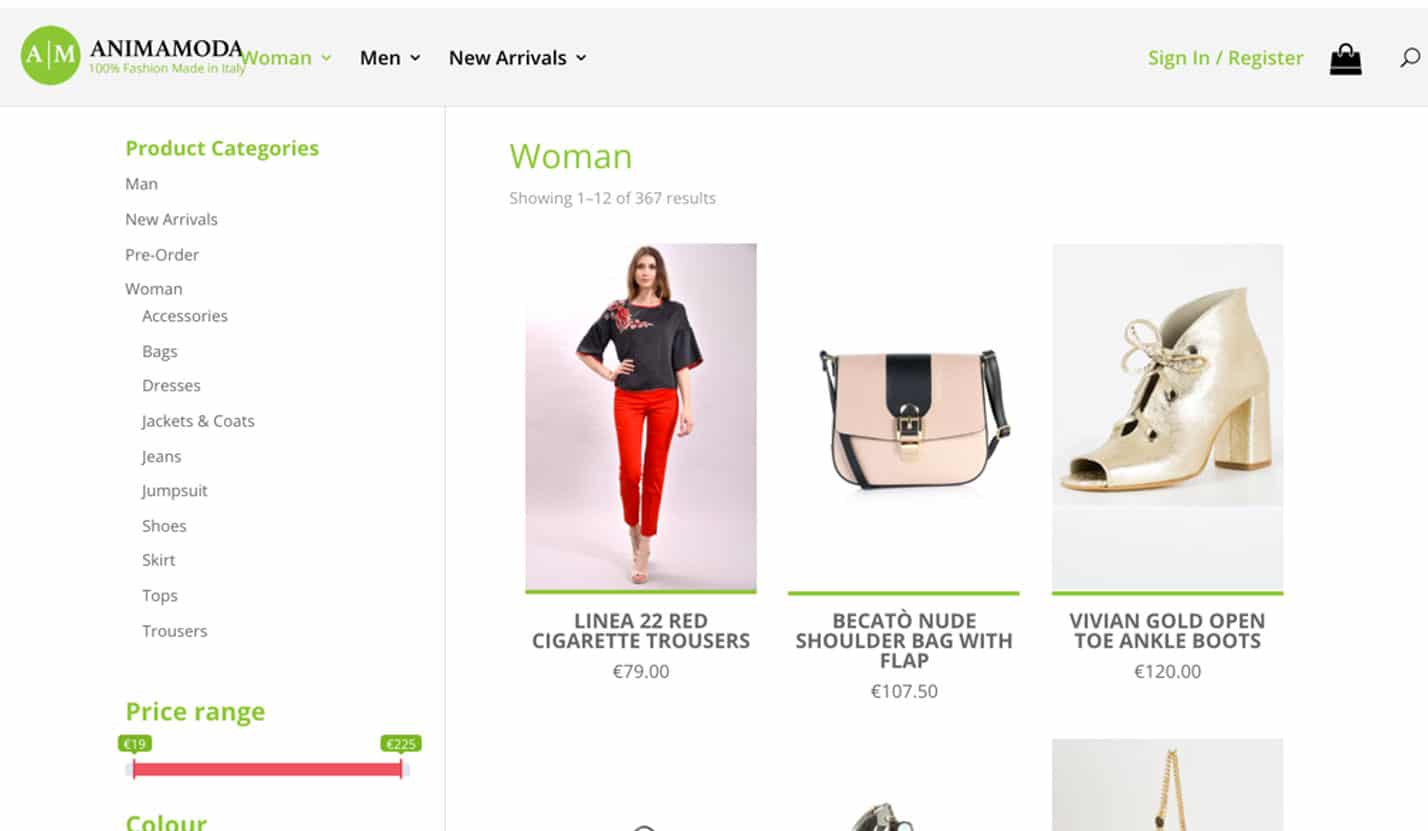Animamoda, Italian Clothes Online Store - eCommerce, Website Design & Web Development